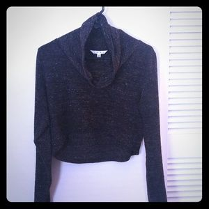 CAbi marbled gray crop cowl neck sweater